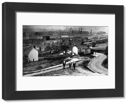 From (right) Jenkin Road showing (foreground, left of gas lamp) Tipton Street (left) St. Margaret's C.of E. Church, Brightside and (background) English Steel Corporation's River Don Works, Brightside Lane. From an original at Sheffield Local Studies library