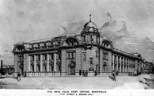 The General Post Office was built in 1910. It closed in 1999 and was later converted to the Sheffield Institute of Arts. From an original at Sheffield Libraries: s07152