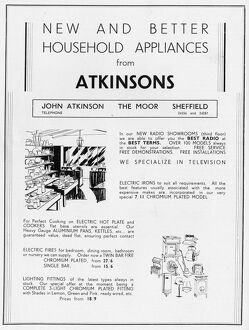 Advertisement for Atkinsons, household appliances, 1939