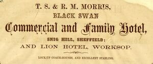 Advertisement for Black Swan Commercial and Family Hotel, Snig Hill, 1858