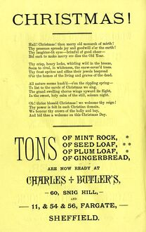 Advertisement for Charles Butler's christmas food - mint rock, seed loaf, plum loaf