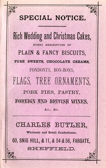 Advertisement for Charles Butler's rich wedding and Christmas cakes, plain and fancy biscuits