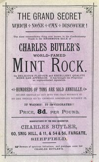 Advertisement for Charles Butler's world famed mint rock - It warms! It invigorates