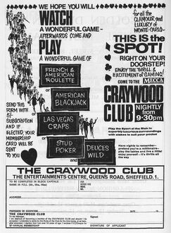 Advertisement for The Craywood Club (casino), The Entertainments Centre, London Road, 1966