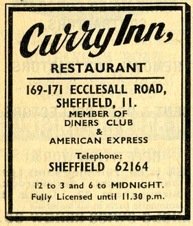Advertisement for the Curry Inn Restaurant, 169-171 Ecclesall Road, Sheffield, 1968