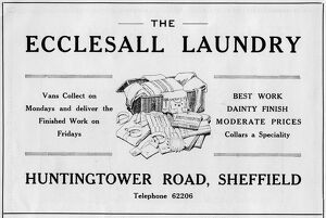 Advertisement for the Ecclesall Laundry, Huntingtower Road, Sheffield