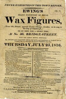 Advertisement for Ewing's Grand Exhibition of Royal Figurines (wax figures / waxworks)