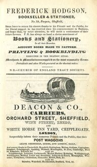 Advertisement for Frederick Hodgson, Bookseller and staioner, 19 Fargate and Deacon and Co