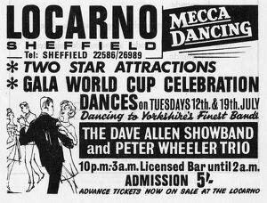 Advertisement for Gala World Cup Celebration Dances, The Locarno, junction of London Road