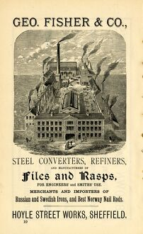 Advertisement for Geo. Fisher and Co. steel converters and refiners, Hoyle Street Works