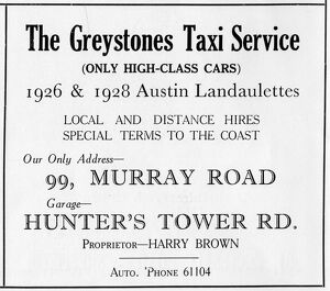 Advertisement for The Greystones Taxi Service, 99 Murray Road