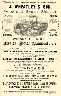 Advertisement for J. Wheatley and Son, wine and brandy shippers, Dantzic Works and Brewery