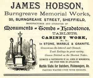 Advertisement for James Hobson, monuments, tombs and headstones, Burngreave Memorial Works, No