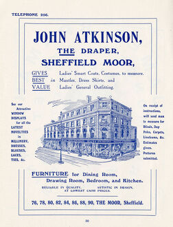 Advertisement for John Atkinson, The Draper, The Moor, Sheffield, 1907