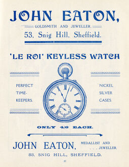 Advertisement for John Eaton, Goldsmith and Jeweller, 53 Snig Hill, Sheffield, Yorkshire
