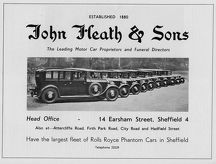 Advertisement for John Heath and Sons, Motor Car Proprietors and Funderal Directors