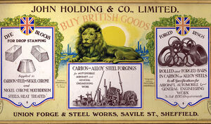 Advertisement for John Holding and Co. Ltd., Union Forge and Steel Works, Savile Street