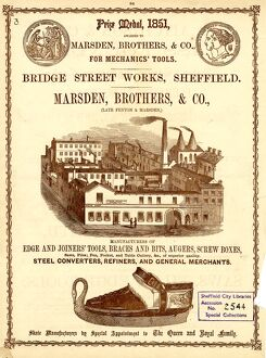 Advertisement for Marsden, Brothers and Co., Tool and Skate Manufacturer, Bridge Street Works