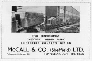 Advertisement for McCall and Co. (Sheffield) Ltd., Templeborough, 1939