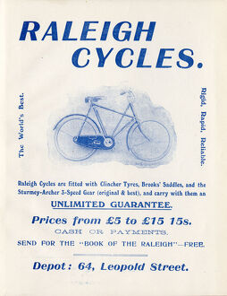 Advertisement for Raleigh cycles (Depot: 64 Leopold Street, Sheffield), 1907