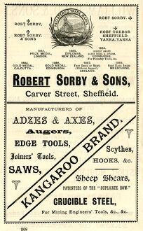 Advertisement for Robert Sorby and Sons, edge tool manufacturers, Carver Street, 1889