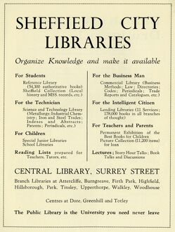 Advertisement for Sheffield City Libraries, 1939