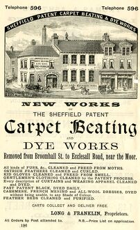 Advertisement for Sheffield Patent Carpet Beating and Dye Works, Ecclesall Road, near The Moor