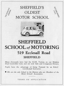 Advertisement for Sheffield School of Motoring, 519 Ecclesall Road, 1939