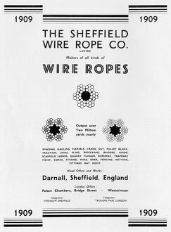 Advertisement for The Sheffield Wire Rope Co Ltd. 43-51 Acres Hill Road, 1939