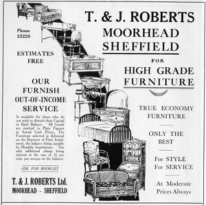 Advertisement for T. and J. Roberts Ltd., Furniture Store, Moorhead