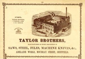 Advertisement for Taylor Brothers, Manufacturers of Saws, Steel, Files, Machine Knives, etc
