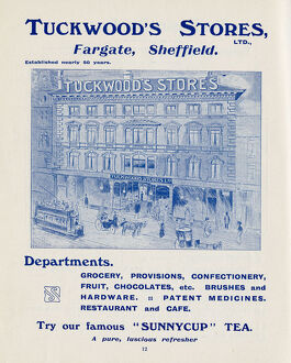 Advertisement for Tuckwood's Stores, groceries, provisions, chocolate and sweets, hardware, etc