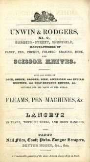 Advertisement for Unwin and Rodgers, Knife Manufacturers, etc., 9 Burgess Street, 1837