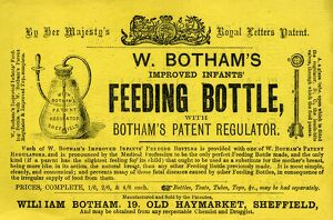 Advertisement for W. Botham's improved infants feeding bottle, 1866