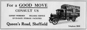 Advertisement for W. Caudle and Co. Ltd., Removals, Queens Road, Sheffield