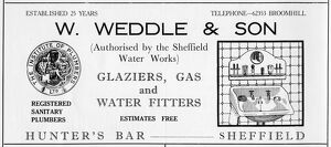 Advertisement for W. Weddle and Son. Glaziers, Gas and Water Fitters, Hunters Bar