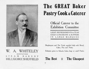 Advertisement for W A Whiteley, Steam Bakery, Hillsborough. Caterer to the Yorkshire