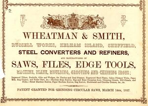 Advertisement for Wheatman and Smith, Steel Converters and Refiners, Russell Works