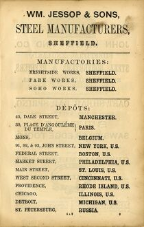 Advertisement for William Jessop and Sons Steel Manufacturers, Brightside Works, Park Works