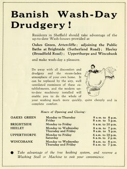 Banish wash day drudgery - advertisement for wash houses, 1939