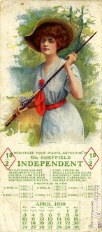 Calendar for 1910 with advertisement for Sheffield Independent