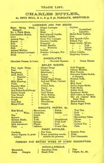 Charles Butler's confectioners - trade list of lozenges and pan goods, chocolates