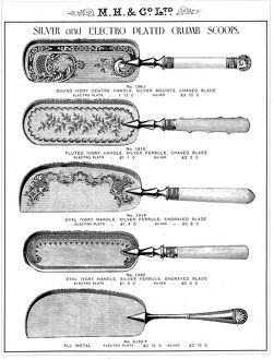 Crumb scoops, manufactured by Martin, Hall and Co Ltd., Silversmiths, Electro Plate