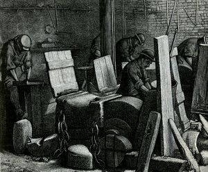 The Grinding Room from a drawing by A. Morrow, 1884