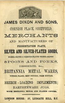 James Dixon and Sons, Cornish Place, advertisement, 1868