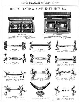 Knife rests manufactured by Martin, Hall and Co Ltd., Silversmiths, Electro Plate
