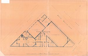 Plan of the Turkish, Swimming and other baths, Convent Walk, Sheffield; for sale, 1890