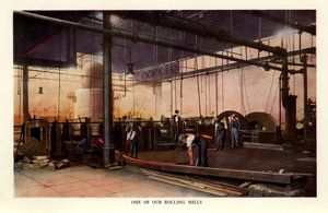 Rolling mill at Ibbotson Brothers and Company Limited, manufacturers of steel, saws