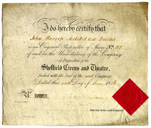Share certificate of John Harrop, architect and builder, in the Sheffield Circus