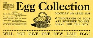 Sheffield Hospitals Appeal egg collection poster, 1938